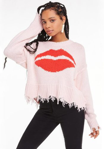 WILDFOX FIRST KISS LUNA SWEATER - SEASHELL PINK