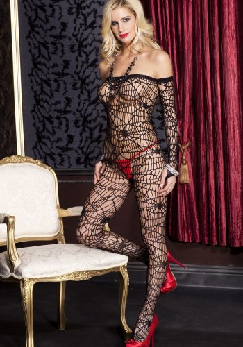 Bodystocking -  Off the shoulder long sleeve spider