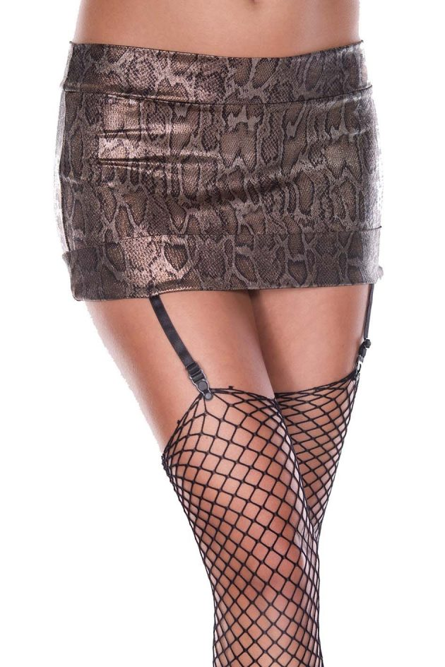 Music Legs Python print mini skirt with attached garters