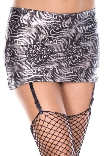 Music Legs Mini skirt with attached garters black/white