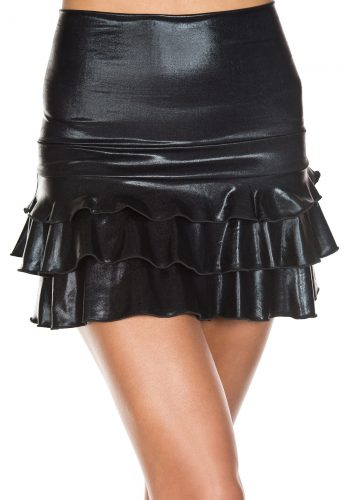 Music Legs BLACK WET LOOK SKIRT