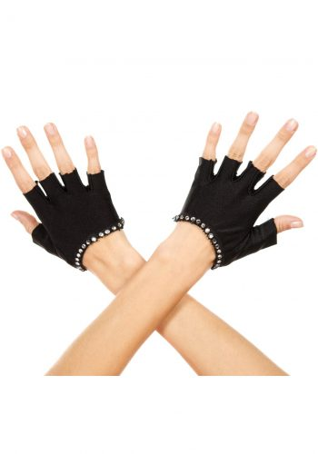 Rhinestone fingerless gloves