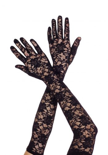 Black long lace gloves