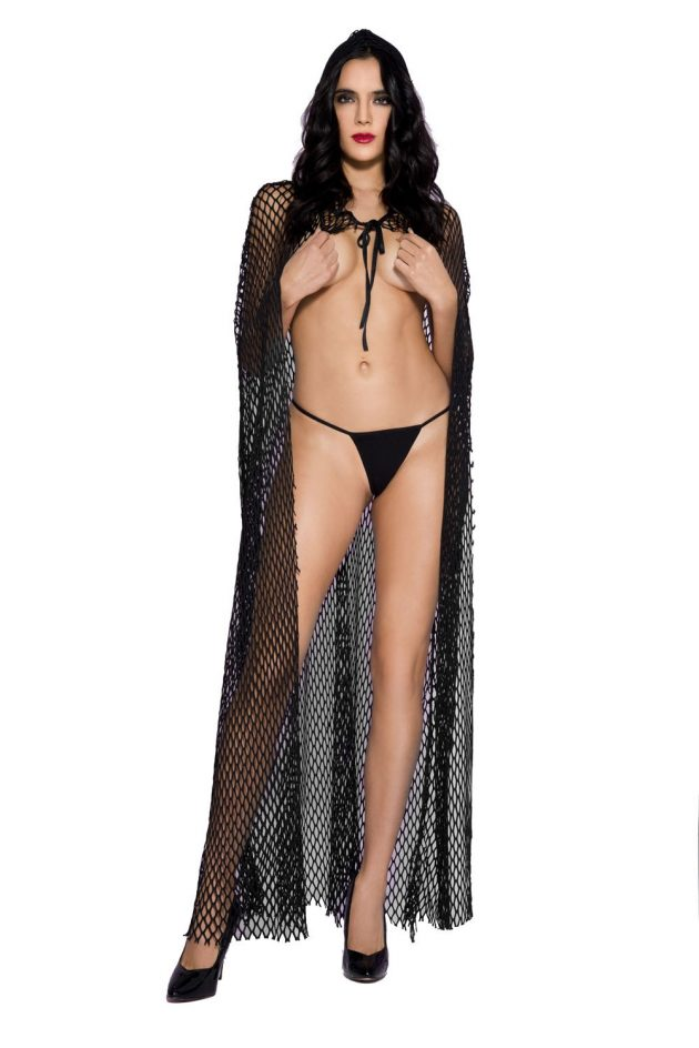 LONG FISHNET HOODED CAPE – BLACK