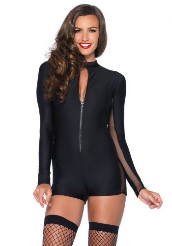 Sheer Panel Zip Front Body