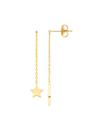 Star and Lightning Bolt Chain Drop Earrings