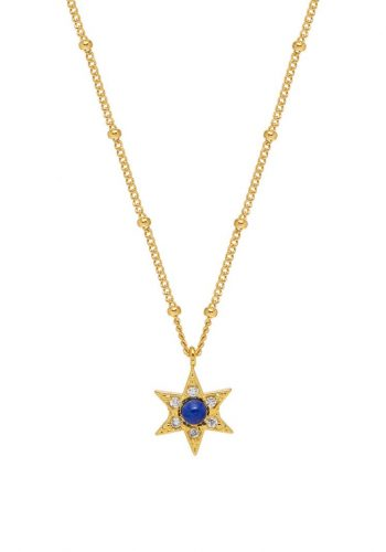 Lapis CZ Star Necklace