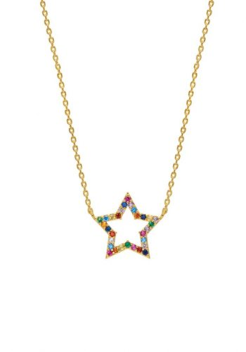 Estella Bartlett Multi CZ Open Star Necklace