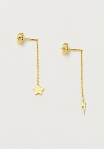 Estella Bartlett Star and Lightning Bolt Chain Drop Earrings