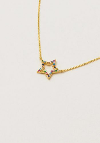 Multi CZ Open Star Necklace