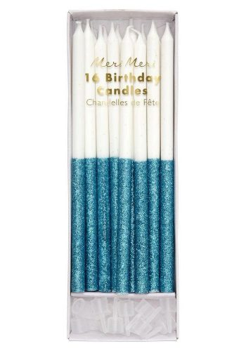 Blue Glitter Dipped Candles