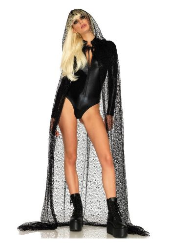 LEG AVENUE WEB LACE HOODED CAPE - BLACK