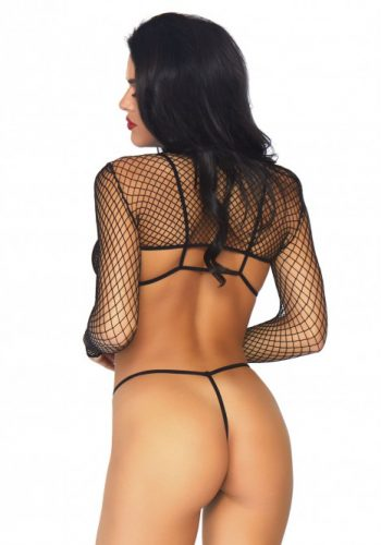 LEG AVENUE FISHNET TOP AND THONG SET - BLACK
