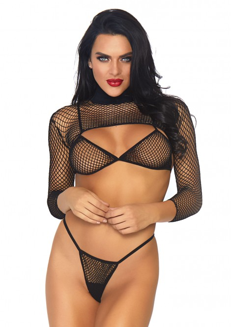 LEG AVENUE FISHNET TOP AND THONG SET – BLACK