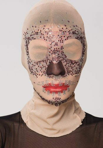 Multicolor Embellished Patterned Mesh Mask