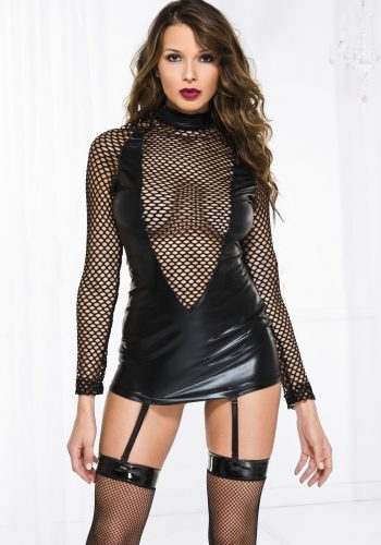 Music Legs Wet look & fishnet long sleeve garter mini - Black