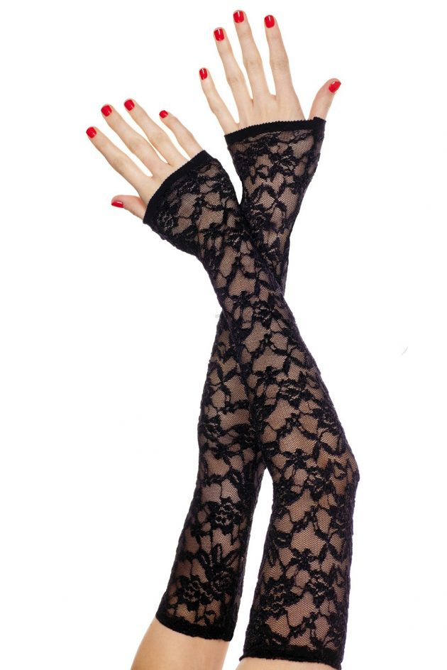 Extra long fingerless lace gloves