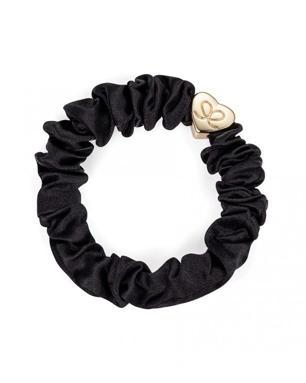 ByEloise Gold Heart Silk Scrunchie | Black