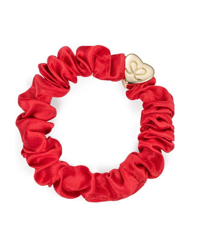 ByEloise Gold Heart Silk Scrunchie | Cherry Red