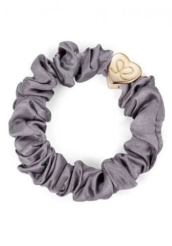 ByEloise Gold Heart Silk Scrunchie | Grey