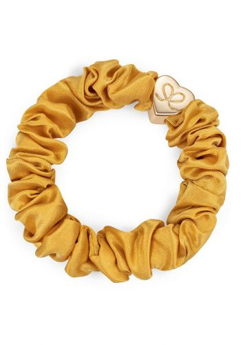 ByEloise Gold Heart Silk Scrunchie | Mustard