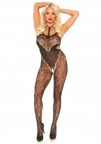 Lace bodystocking with cut out