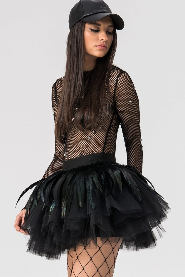 kiki riki Feather Tulle Mini Skirt - Black