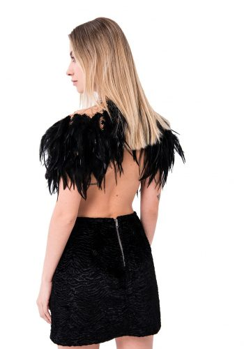 Kiki Riki Faux Fur Mini Skirt In Black