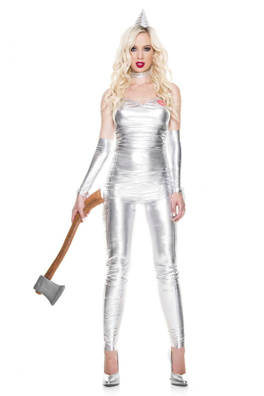 Tin Lady silver catsuit