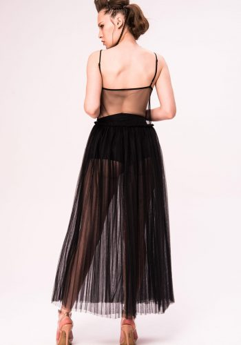 KIKI RIKI SHEER MESH PLEATED CAMI MAXI DRESS
