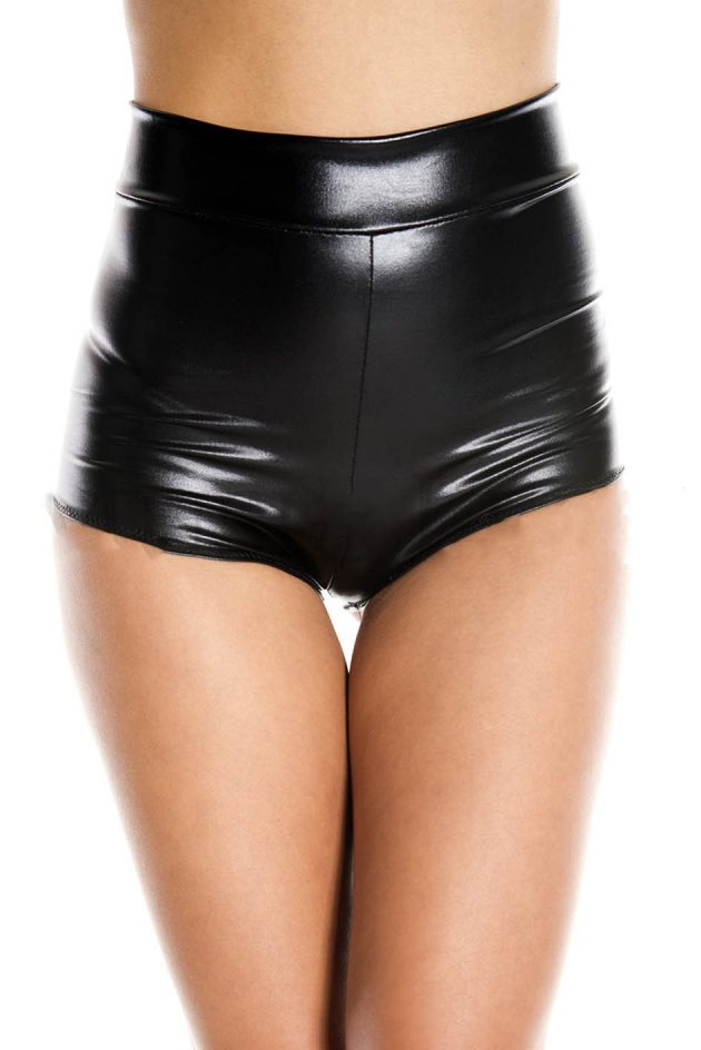 Music Legs Wet-look high-waisted booty shorts