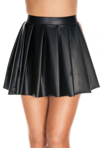 Music Legs Wet look high waisted full pleated skirt