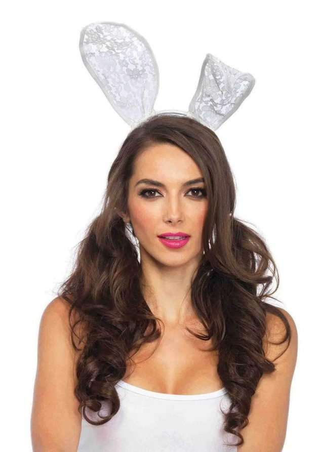 Lace Bunny Ear Headband - White
