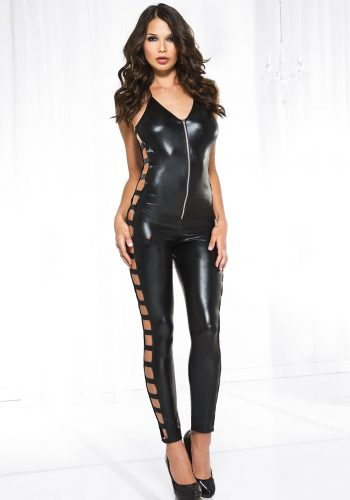 Music Legs Look Wet Look Side Cut Out Catsuit - Black