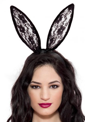 Leg Avenue Lace Bunny Ear Headband - Black