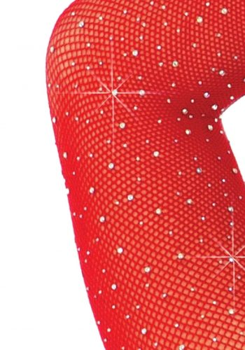 Leg Avenue Long Sleeve Rhinestone Bodysuit - Red