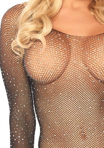 Leg Avenue Long Sleeve Rhinestone Bodysuit - Black