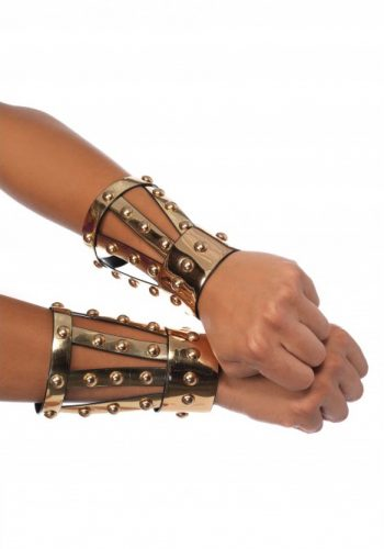 Chrome vinyl studded arm cuffs