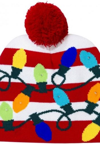LED Light Up Flashing PomPom Knitted Christmas Hat