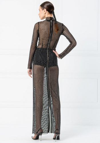 Turtleneck Long Sleeve Crystal Stone Embroidered Fishnet Black-Silver Maxi Dress