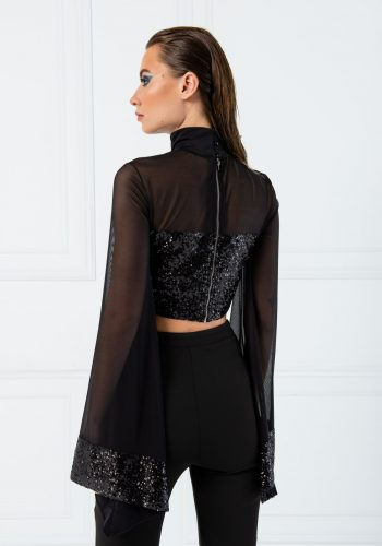 Kiki Riki Turtle Neck Sequin Tulle Blouse - Black