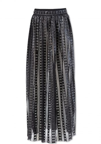 Kiki Riki Leather Stripped Sheer Maxi Skirt With Belt Detail - Black