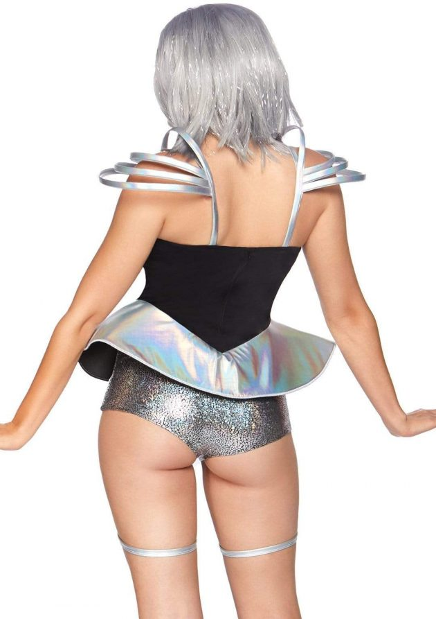Leg Avenue Space Cadet Bodysuit - Silver & Black