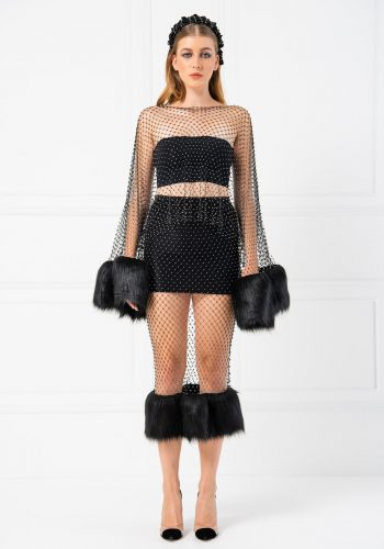 Kiki Riki Feather & Crystal Fishnet Blouse - Black