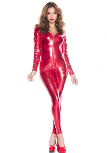 Music Legs Long Sleeve Wet Look Catsuit - Red