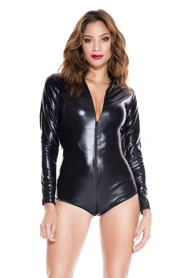 Music Legs Wet Look Zip Front Body - Black