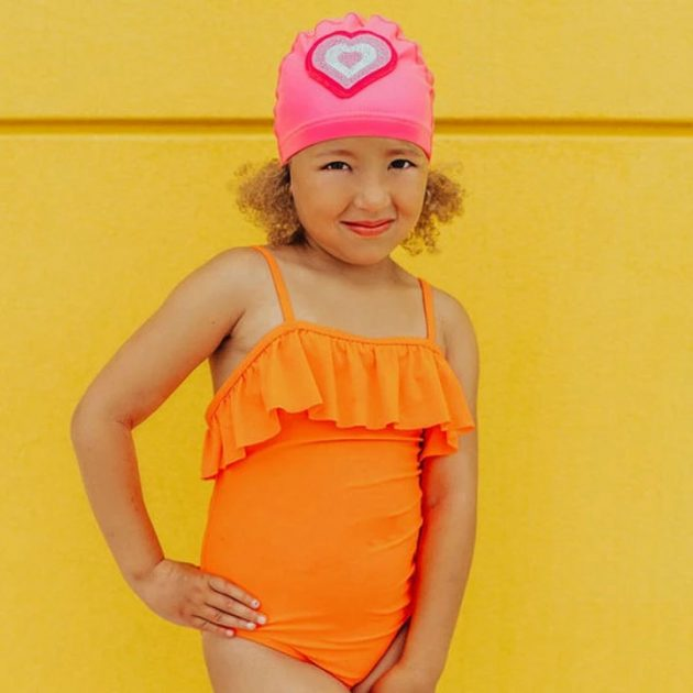 Bling2o - Pink Neon Heart Swimming Cap