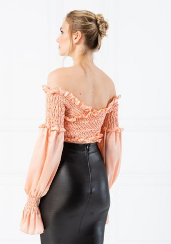 Kiki Riki OFF THE SHOULDER SHIRRED SATIN BLOUSE - SALMON
