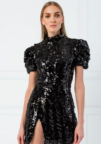 Kiki Riki TURTLENECK SHORT SLEEVE MINI SEQUIN DRESS - BLACK