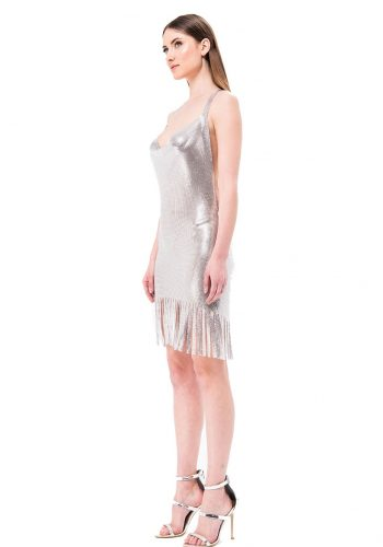 Kiki Riki Tassel Detail Mini Dress - Silver